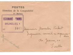 Lettre Du Service Des Postes Direction Comptabilité 1er Bureau Recommandé Timbres BXL 1 PR4165 - Documents Of Postal Services