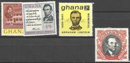 GHANA - 1965 Abraham Lincoln Set Of 4 MNH **  SG 373-6  Sc 208-11