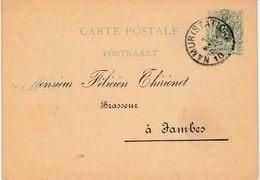 """BRASSERIE/BROUWERIJ : Entier (B) """"NAMUR 18 MARS 1887"""" Repiquage Recto """"F. THIRIONET BRASSEUR/JAMBES"""" + Verso BRASSERIE"""