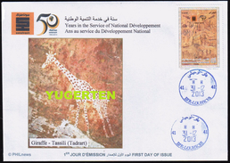 ALGERIE ALGERIA 2013 - FDC - Giraffes Girafes Giraffen Prehistory Rupestry - Tassili Girafe Giraffe Jirafa Jirafas - Giraffe