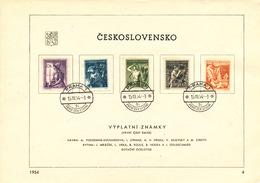 Czechoslovakia / First Day Sheet (1954/04) Praha 1 (9i): Profession (nurse, Ironworker, Farmers, Miners, Doctor)