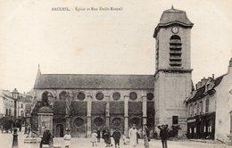 CPA ARCUEIL - EGLISE ET RUE EMILE RASPAIL - Arcueil