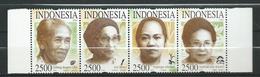 Indonesia 2004 Famous Women.philosopher.reporter,plants.strip Of 4.MNH - Indonésie