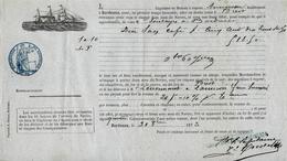 CONNAISSEMENT BILL OF LADING 1873 TRANSPORT MARITIME CAFE De Bordeaux à Brest Pour  Mr Lenormant à Lannion Signature - 1800 – 1899