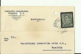 CROATIA  --  DOPISNICA   1935  --  CAKOVEC  --  CAKOVECKA - MEDJIMURSKA STEDIONICA  --  S. NEUMANN