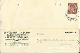 CROATIA  --  DOPISNICA   1939  --  CAKOVEC  --  BRACA HIRSCHSOHN
