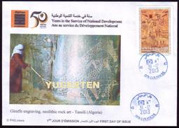 ALGERIA  2013 - FDC - Giraffes Girafes Giraffen Prehistory Rupestry - Tassili Girafe Giraffe Jirafa Jirafas FAUNA - Giraffe
