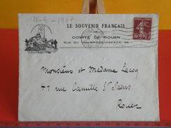 Marcophilie > Lettre > Flamme > Timbres Seuls Sur Lettres > 76 Seine-Maritime >Le Souvenir Français Comité De Rouen 1937 - Marcophilie (Lettres)