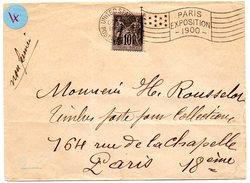 PARIS / EXPOSITION 1900 =  FLAMME DRAPEAU Avec ETOILES / UNITED STATES / POSTAL STATION Sur Enveloppe - Annullamenti Meccanici (pubblicitari)