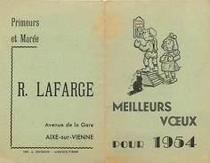 Themes Div Ref P454- Calendrier Petit Format 1954- Primeurs Et Marée Lafarge A Aixe Sur Vienne - Haute Vienne -bon Etat- - Calendriers