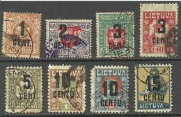 LITAUEN Lithuania 1922 = 8 Overprint-stamps O - Lithuania