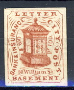 US Local & Carriers (Penny Post) 1854-66 New York Hussey Letter City Post $ 1 Bruno Su Bianco Non Dent. - 1845-47 Emissions Provisionnelles