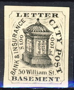 US Local & Carriers (Penny Post) 1854 - 66 New York Hussey Letter City Post $ 1 Nero Su Bianco Non Dent. - 1845-47 Emissions Provisionnelles