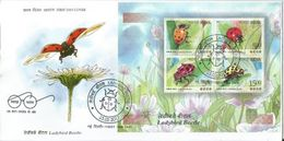 India  Ladybird Beetle  Miniature Sheet (Set Of 4 Stamps) On FDC , First Day Cancelled, Insects, Coccinellidae