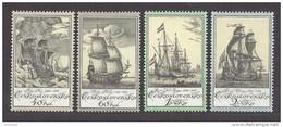 Czechoslovakia  Tschechoslowakei  1976 ** Mi 2330-2333 Sc 2071-2074 Old Engravings Of Ship, Schiffe Nach Alten Stichen.