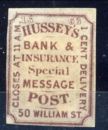 US Local & Carriers 1854 - 66 NYHussey Post, Bank Insurance Special Message. 1 Cent Delivery Bruno Violaceo Non Dent. MH - 1845-47 Emissions Provisionnelles