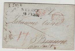 Pre28a/- PREUSSEN   Neisse, Oberschlesien, 2-Zeiler Spät Verwendet 1846. P Paye Nach Frankreich - Duitsland