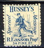 US Local & Carriers (Penny Post) 1854 - 66 New York Hussey's Special Message Azzurro MH - 1845-47 Emissions Provisionnelles