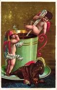 6 Cards C1900 Printer Albert Clary Cherubs Boissons Bière Cidre Champagne Thé Café Fond - Autres