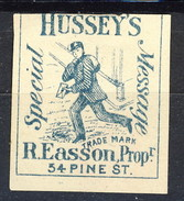 US Local & Carriers (Penny Post) 1854 - 66 New York Hussey's Special Message Azzurro Nerastro NON Dent - 1845-47 Emissions Provisionnelles