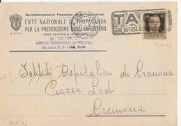 """ANNULLO A TARGHETTA """"TACI!"""" UFF. BRESCIA 08.10.1943  ORNAGHI 301.43 SU CARTOLINA INTESTATA"""