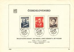 Czechoslovakia / First Day Sheet (1954/16) Praha 1 (a): Writers - Jan Neruda, Janko Jesensky, Jiri Wolker (mining Towers