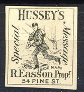 US Local & Carriers (Penny Post) 1854 - 66 New York Hussey's Special Message Nero Su Bianco. NON Dent Formato Piccolo - 1845-47 Emissions Provisionnelles
