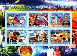 IMPERFORATED. GUINEA 2008. ANNEE DE LA TERRE. SPACE. FAUNA. BIRDS. AVIATION. CARS... SHEET**