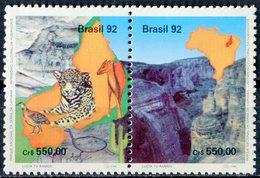 """BRESIL  1992  MNH  - """" PARC NATIONAL OISEAUX / BIRDS """" -   2 VAL - Oiseaux"""
