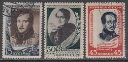 USSR 1939 - 125th Birth Annivarsary Of M.Lermontov, Mi-Nr. 726/28, Used