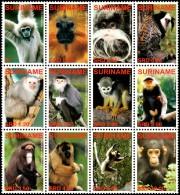 ~~~ Suriname 2006 - Fauna Monkeys And Apes - Mi. 2077/2088 ** MNH ~~~ - Apen