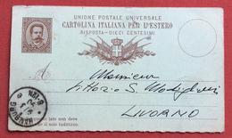 INTERO POSTALE RISPOSTA DIECI CENTESIMI DALL'ESTERO : DA HAMBURG 9/3/90 A LIVORNO - 1900-44 Victor Emmanuel III.
