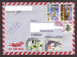 Peru, Circulated Envelope From Lima-Tegucigalpa With Stamp Of Birds, Owl Craft, 1998