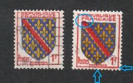 (o) 1002 BOURBONNAIS, Decalage Du Rouge, Trainées De Rouge,Nuance De Bleus & Jaune, Blason Dans Légende