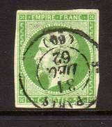 FRANCE - YT 12  OBLITERATION CAD DE PARIS 31 DECEMBRE 1862 - Marcophilie (Timbres Détachés)