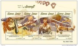 Sierra Leone 2015, World War I Aircraft, Zeppelin, 4val In BF