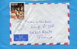 MARCOPHILIE-lettre-COMORES->Françe- Cad-Moroni-1984  - StampN°a202 BASKETTBALL JO 84