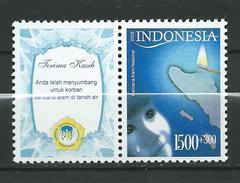 Indonesia 2005 National Disaster Fund Surcharged.Aceh Disaster Tsunami With Tab.MNH - Indonésie