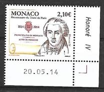 Monaco 2014 - Yv N° 2930 ** - Bicentenaire Du Traité De Paris - Monaco