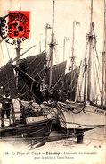 FECAMP Armement Des Trois Mâts Pour La Pêche à Terre Neuve Belle Cpa Animée Circulée En 1908  Bel état Voir Scans - Fécamp