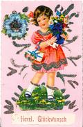 GIRL WITH FLOWERS, HANDMADE POSTCARD - Children