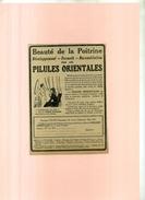 FRANCE . PUB. BEAUTE DE LA POITRINE . PILULES ORIENTALES  .ANNEES 1920 . DECOUPEE ET COLLEE SUR PAPIER . - Publicités