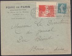 """FR - 1919 - """"Foire De Paris Administration"""" Enveloppe 5 Ct Semeuse Avec Belle Vignette De La Foire De Paris Pour Berne - 1877-1920: Période Semi Moderne"""