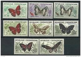 """Centrafrique YT 4 à 11 """" Série Complète Papillons """" 1960-61 Neuf *"""