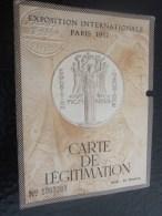 1937 CARTE DE LEGITIMATION TITRE DE TRANSPORT CHEMIN DE FER Jumelé Entrée  EXPOSITION INTERNATIONALE DE PARIS - Europe