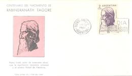 RABINDRANATH TAGORE CENTENARIO DEL NACIMIENTO 1861 - 6 DE MAYO - 1961 FDC MATASELLO LA PLATA RARE