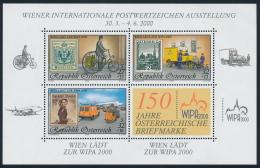 Österreich Austria 2000 ANK 2335-37 Mi 2222+2270+2292 (II) Block 14 WIPA Postman Van Airport Stamp On Stamp MNH - Blocks & Kleinbögen