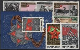 RUS 74 - RUSSIE N° 3336/45 + BF 49 Neufs** 50e Anniv. De L'Armée Rouge