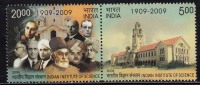 India MNH 2008, Se-tenent Pair, Indian Institute Of Science, Vivekananda, Nobel Prize C V Raman, Physics, Geology, Etc - Unused Stamps