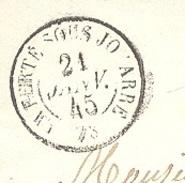 SEINE ET MARNE 77 LA FERTE SOUS JOUARRE LSC TAD 15 Du 21/01/1845 PP Et Taxe 2 Verso TTB - Marcophilie (Lettres)